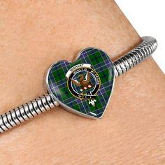 MacArthur Modern Tartan Crest Heart Bracelet – Your Tartan Working Mother, Working Moms, Heart Bracelet, Bracelet Watch, Scottish Tartans, Everyday Items, Bangles, Bracelets, Heart Charm