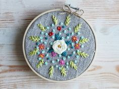 Items similar to Embroidery hoop art / Embroidered flower / Flowers embroidery pattern / Wall art / Floral framed / Hand stitching art Wall decor embroidery on Etsy Modern Embroidery, Embroidery Hoop Art, Crewel Embroidery, Hand Embroidery Patterns, Cross Stitch Embroidery, Wall Patterns, Pdf Patterns, Crochet Squares, Embroidered Flowers