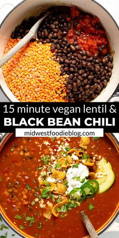 I'm here to let you in on a little secret…healthy food can also be hearty and satisfying! TRY THIS VEGAN BLACK BEAN CHILI! It's loaded with over of your daily fiber in each servi Chili Recipes, Veggie Recipes, Soup Recipes, Whole Food Recipes, Vegetarian Recipes, Cooking Recipes, Healthy Recipes, Healthy Black Bean Recipes, Cooking Tips