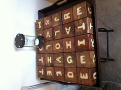 This is a giant boggle board made by a friend's granddaughter.