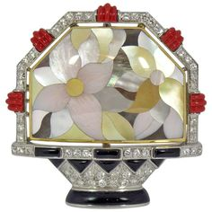 Asch Grossbardt Inlaid Mother of Pearl Flower Basket Pin