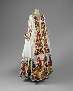 Rococo Period Dress  --  1725–40  --  Italian  --  Heavily embroidered linen  --  The Costume Institute at The Metropolitan Museum of Art