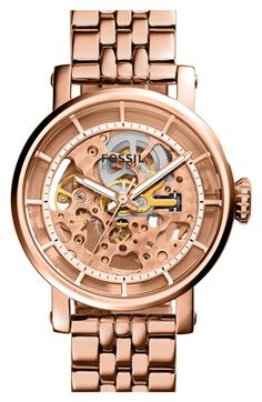 Free shipping and returns on Fossil 'Original Boyfriend' Skeleton Dial Automatic Bracelet Watch, 38mm at Nordstrom.com. Industrial skeleton windows on the front and back let you admire the inner workings of this intriguing automatic watch. A classic multi-link bracelet keeps the style timeless.
