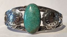 MAISELS VINTAGE NAVAJO INDIAN STERLING TURQUOISE CUFF BRACELET #Cuff