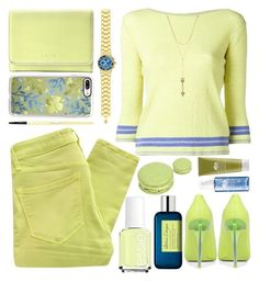 """""""Lemon Sorbet Jeans"""" by grozdana-v ❤ liked on Polyvore featuring Essie, Marc by Marc Jacobs, Ermanno Scervino, Lodis, Atelier Cologne, Casetify, Bobbi Brown Cosmetics, TechnoMarine and Rebecca Minkoff"""