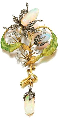 ENAMEL, OPAL AND DIAMOND PENDANT, GUILLEMIN FRÈRES, CIRCA 1900. Designed as a cluster of stylized flowers, set with polished opals, circular-cut and rose diamonds, highlighted with translucent matte enamel, detachable pendant fitting,