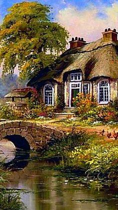Reint Withaar ~ Dutch Painter, Born Amsterdam 1928 ~c.c~ Pebble Bridge Cottage Landscape Pencil Drawings, Watercolor Landscape, Landscape Paintings, Landscape Photography, Nature Photography, Kinkade Paintings, Monet Water Lilies, Painted Cottage, Autumn Scenery