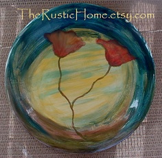 Tuscan poppy pottery dinner plates by TheRusticHome on Etsy   Maybe four of these ...