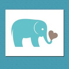 Aqua Elephant with Heart Art Print  Zoo Animal by manvsgeorge, $10.00