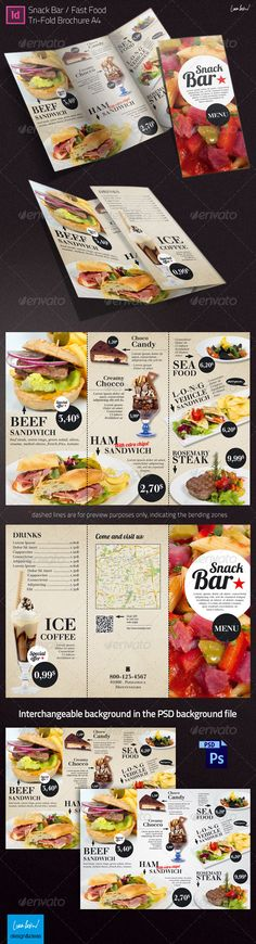Tri-fold Brochure: Snack Bar Menu - Restaurant Flyers - love the shape over a fu. Tri-fold Brochure: Snack Bar Menu - Restaurant Flyers - love the shape over a full page image & big playful text Menu Restaurant, Bar Menu, Dinner Menu, Food Design, Web Design, Food Truck, Brochure Food, Menu Layout, Menu Book