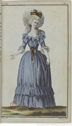 A robe en chemise from a 1786 issue of Cabinet des Modes. 18th Century Dress, 18th Century Costume, 18th Century Fashion, Fashion Prints, Fashion Art, Vintage Fashion, Francisco Goya, Historical Costume, Historical Clothing