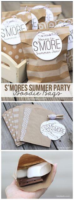 DIY S'Mores Summer Party Goodie Bags! EASY tutorial and FREE Printable Goodie Bag Tags from http://Landeelu.com