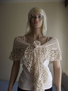 A Mediterranean Summer Night - CROCHET SHAWL / Crochet BANDANA / Crochet Flower / Pearl Bead Flower / Off White Beauty / Wedding Shawl. $43.00, via Etsy.