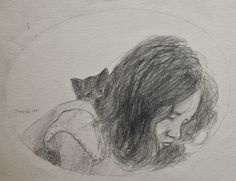 """""""Annie with Kitten"""" Robert C. Tracy Pencil 9 x 12"""" paper 2007"""