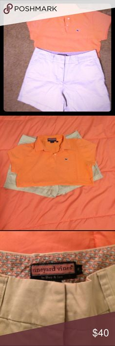 """Vineyard Vines entire outfit (polo & khaki shorts) All Vineyard Vines fans.... This is an entire outfit. Excellent used condition. Orange classic shoreline polo shirt in size medium, and 5 inch classic shorts in tan/khaki women's shorts.  · 98% cotton, 2% spandex  · Mid-rise, 5"""" inseam women's shorts  · A touch of built-in stretch for comfort · There's a whale logo embroidered above one of the back welt pockets  · Super soft fabric  · Hook-and-bar closure with an interior anchor button…"""