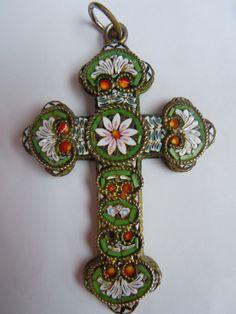 Antique Italian Micro Mosaic Glass Inlay Large Cross