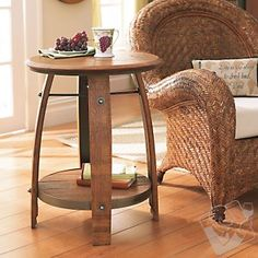This wine barrel end table will live very happily and beautifully in retirement in your living room!
