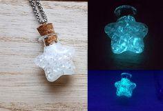 Edelstahl-Halskette Stern-Flasche Mondstaub glow