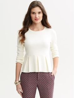 Peplum sweater, tried it on, but belly fat got in the way!!