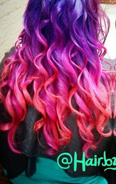 Purple pink red ombre dyed hair