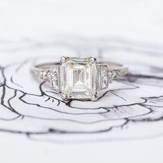 Amazing emerald cut vintage engagement ring <3