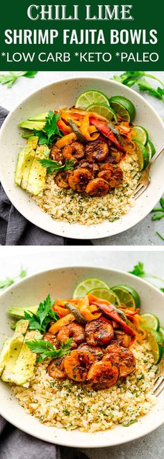 Chili Lime Shrimp Fajita Bowls are the perfect healthy meal for spring or summer. Made with juicy shrimp, cauliflower rice, bell peppers and avocado. Works great for leftovers or Sunday meal prep for school or work lunchboxes. Seafood Recipes, Paleo Recipes, Low Carb Recipes, Cooking Recipes, Zuchinni Recipes, Recipes Dinner, Zoodle Recipes, Pescatarian Recipes, Vegetarian Low Carb Meals