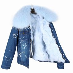 Real Fox Fur Lining Denim Jacket Coat Women Winter Coat Jacket Denim, 34 / S Dark Denim Jacket, Winter Coats Women, Coats For Women, Jackets For Women, Types Of Coats, Summer Coats, Fur Collar Jacket, Love Clothing, Scrappy Quilts