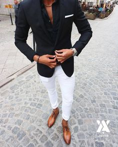 Terno Casual, Traje Casual, Blazer Outfits Men, Casual Outfits, Classy Outfits, Men's Outfits, Mens Fashion Suits, Mens Suits, Mode Swag