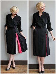 1940s Dress // Reich Color Block Dress // by dethrosevintage