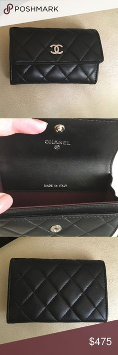 Chanel Black Lambskin Card Holder Case Silver This is an authentic black Chanel lambskin card holder card case with silver hardware. Good condition! Does not come with Chanel box or card. NO TRADES CHANEL Bags Wallets