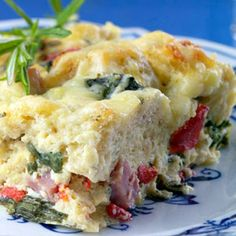 Ham & Cheese Breakfast Casserole  Low calorie, Reduced fat, Reduced carbohydrate, High protein  Entire recipe makes 6 servings  Each serving = 5 Points +  146 calories; 4 g fat; 21 g carbohydrates; 28 g protein; 6 g fiber