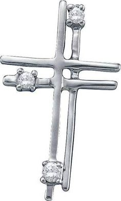 Women's White Diamond 0 04Ct 14k White Gold Cross Pendant GND38914 | eBay