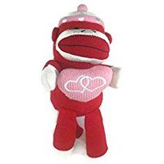 """Sock Monkey Plush - 10"""" Valentines Day Sock Monkey - Pink and Red - Perfect for Valentines Day Gift"""