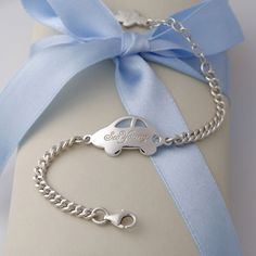 Baby Boy Jewelry Silver Anddy Car Blue Engravable Bracelet With Lobster Claw