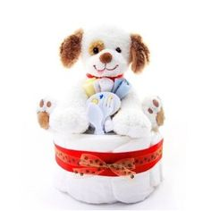 1 Tier Puppy Themed New Baby Boy Diaper Cake - Shower Table Centerpiece and Gift Idea