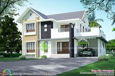 neat sloping roof home