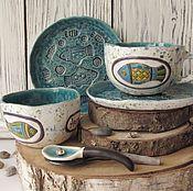 """vajilla a mano.  Masters - Feria conjunto de cerámica hecha a mano de """"Piscis"""".  Hecho a mano."""