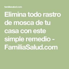 Elimina todo rastro de mosca de tu casa con este simple remedio - FamiliaSalud.com Limpieza Natural, Heath Tips, Bug Off, Natural Cleaners, Green Life, Life Organization, How To Know, Clean House, Cleaning Hacks