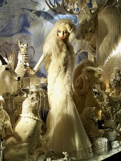 "Carnival of the Animals: ""Breaking the Ice""   A Bergdorf Goodman Christmas window display in the Carnival of the Animals series. Mural by Malcolm Hill. Passamenterie animals by Burke & Pryde Studio."