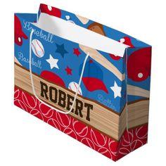 SPORTS Personalize Name Baseball Fan Fun Pattern Large Gift Bag