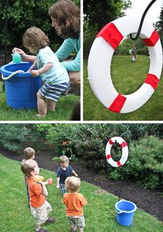 "LOVE this party game: styrofoam ring as a ""life preserver"" target {decorate it to fit your theme} to throw water balloons thru"
