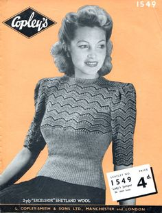 Amazing 1940s Jumper Tight Ribbing and Stripes 34 Bust Copley's 1549 Vintage Knitting Pattern Download