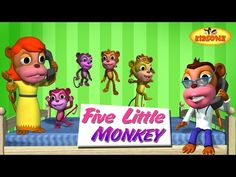 kids Rhymes: Five Little Monkeys Jumping On The Bed  Kids Nurse...