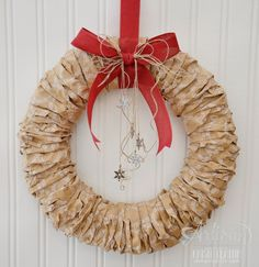 use Stampin' Up! wrapping paper to make a quick and simple holiday wreath - krista frattin