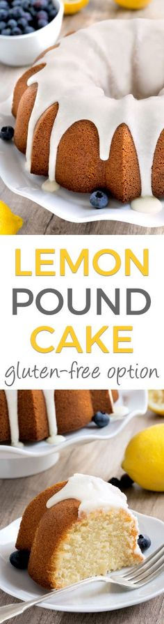 This puckery and moist lemon pound cake is easy to make and a guaranteed crowd pleaser! With gluten-free and all-purpose flour options. Gluten Free Pound Cake, Gluten Free Cupcakes, Gluten Free Sweets, Pound Cake Recipes, Easy Cake Recipes, Gluten Free Baking, Cupcake Recipes, Baking Recipes, Dessert Recipes