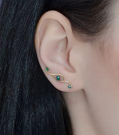 $62 Emerald EAR CLIMBER Earrings // 14k Gold by PjCreationsStudio
