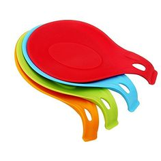 Swify Silicone Spoon Rest Set - 4 Pieces Kitchen Jumbo Spoon Rest Set With Bright Colorful, Durable, Heat-resistant, Dishwasher safe - FDA-approved (Red/ Orange/ Blue/ Green)