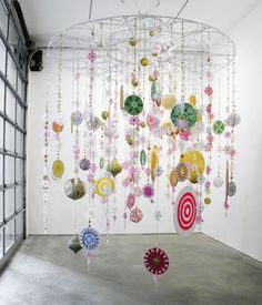 mobiles: Reminds me of an Ab Fab episode. Mobile Art, Hanging Mobile, Hanging Art, Kandinsky, Art Du Collage, Collage Art Mixed Media, Ideas Habitaciones, Kinetic Art, Home And Deco