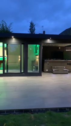 Lighting Design, Bar & Hot Tub - Take a tour with Martin Baker to see the bespoke lighting features of this Garden Room, featuring b - Garden Bar Shed, Summer House Garden, Hot Tub Garden, Garden Gym Ideas, Garden Office Shed, Hot Tub Pergola, Pergola Carport, Jacuzzi, Whirlpool Pergola