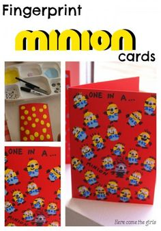 Fingerprint Minion Card - a fun craft for kids based on the Minions film Fun Diy Crafts, Fun Crafts For Kids, Craft Activities For Kids, Creative Crafts, Preschool Crafts, Crafts To Make, Art For Kids, Preschool Ideas, Presents For Teachers
